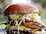 Straight-Up with a Pig Patty Burger With Donkey Sauce by Guy Fieri