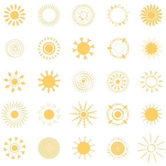 25 yellow sun symbols by @Graphicsauthor