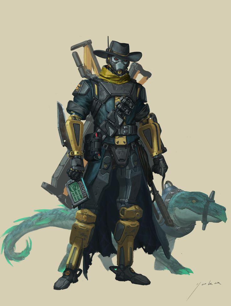 ArtStation - Mr. right gun the bounty hunter ( or bounty hunter 76 XD ) , Yuka Han