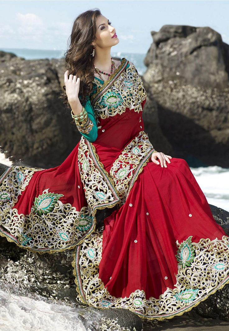 #Red Faux #Chiffon #Saree with Blouse @
