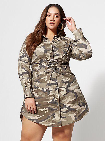 370c48b2 Camo Girl Boss Corset Shirt Dress in 2019 | GOOD MEAT!! | Fashion ...