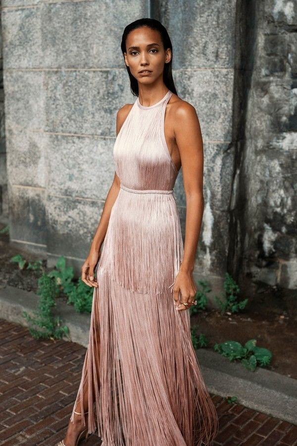 Halter Neck Floor Length Fringe Dress Pastel Pink Prom Dress
