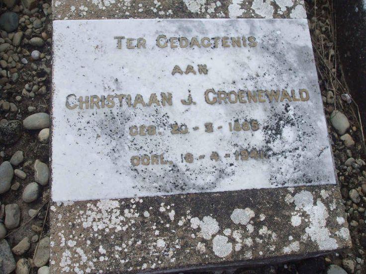 GROENEWALD Christiaan J. 1885-1941 Western Cape, BREDASDORP district, Ronde Kop, Rondeheuwel, farm cemetery