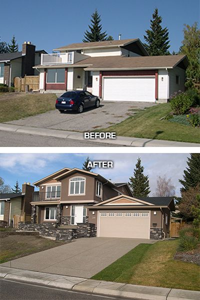 Exterior renovation in the calgary community of silver for Exterior renovations before and after