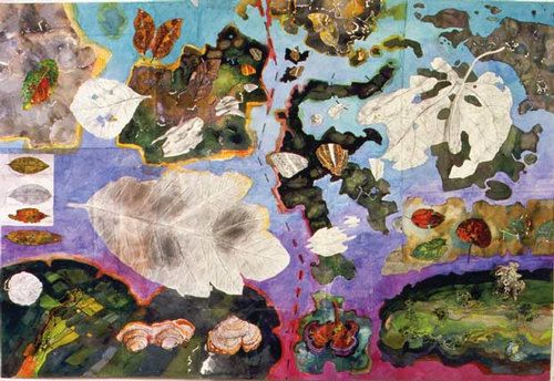 John Wolseley Tracing the Wallace Line; wing leaf and land, 1999 watercolour on paper 136 × 205cm