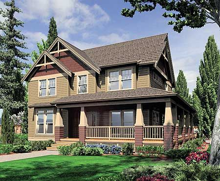 For the corner lot craftsman house plans and country for Country craftsman home plans