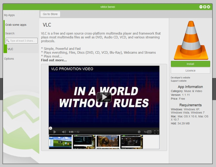 View info of VLC app