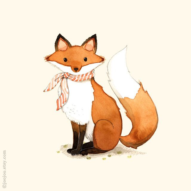 Fox print Fox painting Fox illustration alphabet animals by joojoo