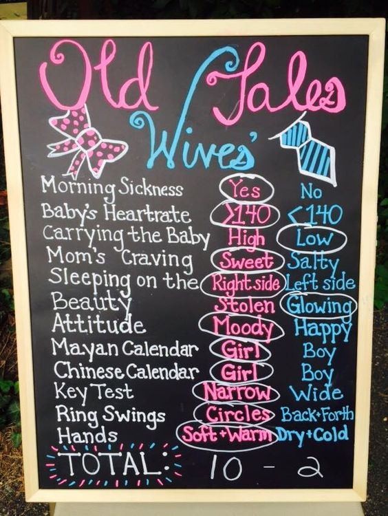 12 old wife's tales chalkboard for revealing the gender - Shelterness