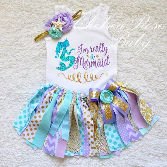 **ALL ITEMS IN MY SHOP ARE MADE TO ORDER- NOT READY TO SHIP, THE CURRENT TURN AROUND TIME IS 5 weeks plus shipping- smaller orders may ship sooner, message me for details! For more information please visit my shop announcements here: www.etsy.com/shop/ChelseaRoseBaby/policy Thank you!   Adorable Mermaid Sparkling Birthday shirt! Would be gorgeous for newborn pictures, 1st Birthday, or for a photo shoot! Add the matching starfish headband and necklace to complete the look!  CARE...