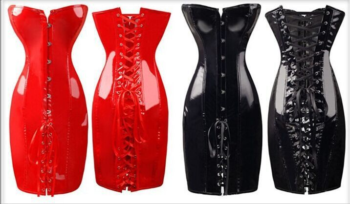 Free Shipping 2015 hot selling body slim pvc corset fashion sexy club dress plus size s m l xl xxl hot red  black