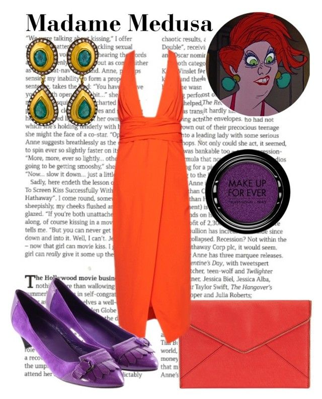 """Madame Medusa"" by wonderlandofgeeks ❤ liked on Polyvore featuring Disney, Rebecca Minkoff, Sergio Rossi, SKU Jewelry, MAKE UP FOR EVER, disney, dreamcast, therescuers and MadameMedusa"