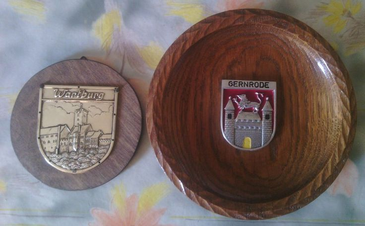 German Decorative Wooden Wall Plate Gernrode Coat of Arrms & Wartburg Castle