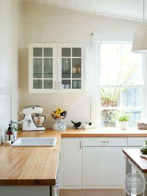 White timber country style kitchen