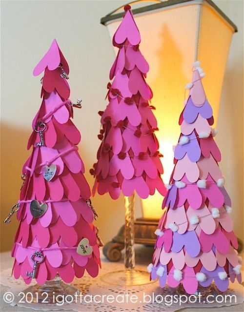 These paper heart tree cones are precious and festive for February and Valentine Home Decor Ideas on Frugal Coupon Living. Valentine Craft.