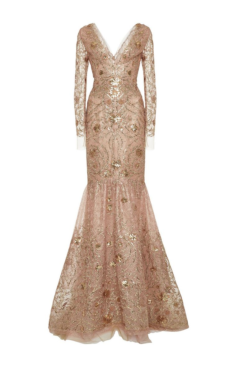 V-Neck Long Sleeve Tulle Gown by Marchesa for Preorder on Moda Operandi