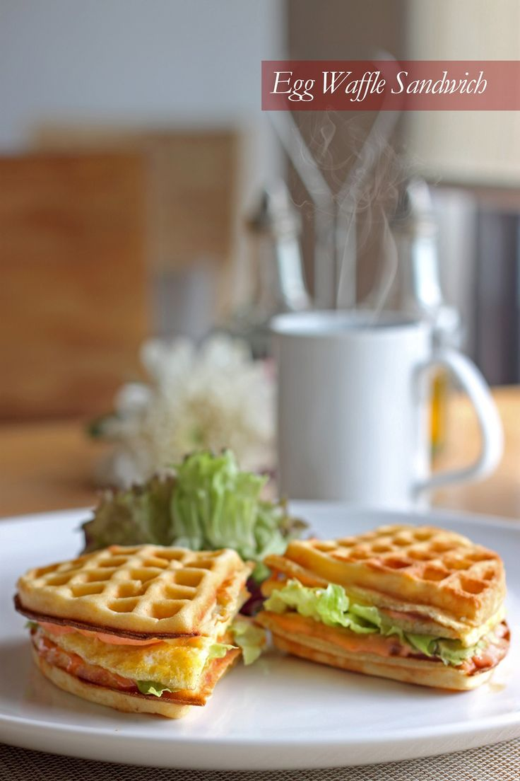 Egg Waffle Sandwich Start your day with a stuffed waffle sandwich dressed in calypso, chili sauce mixed with mini salad, egg and lettuce. Rp 29,900++/portion *includes a mug of hot tea