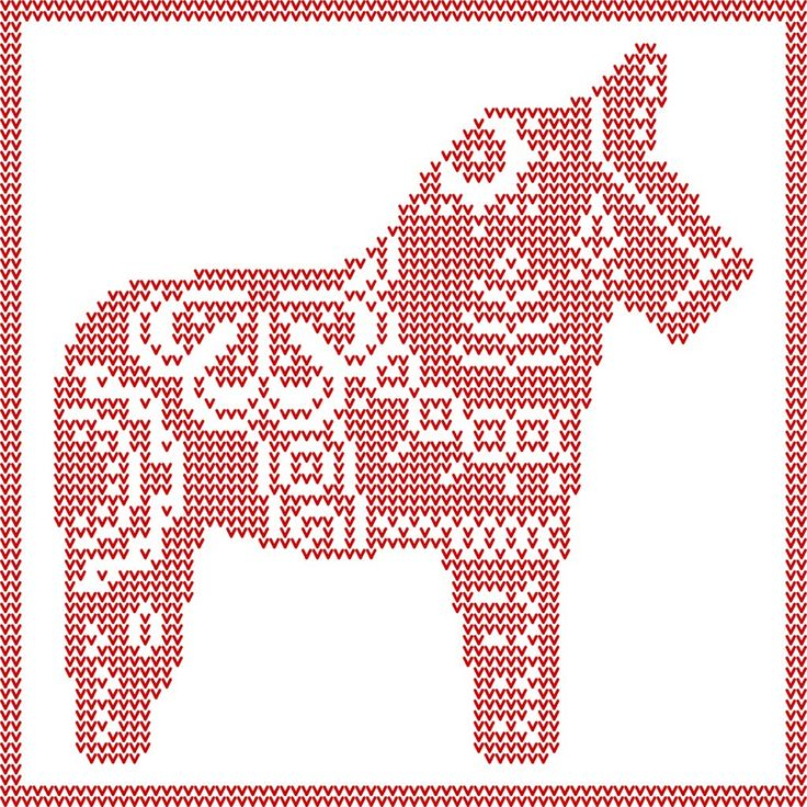 Dala Horse knit, crochet, cross stitch patterns. Swedish Christmas Yule Horse. Free PDF Downloads