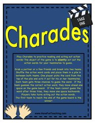 verb charades, charades activity, verb activity, parts of speech, learning your verbs