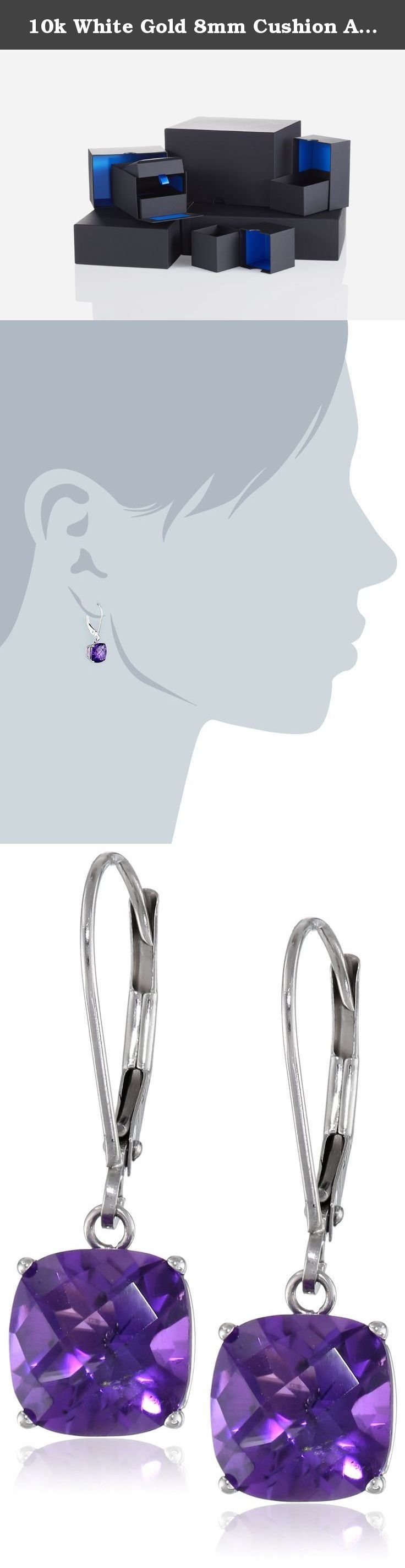 10k White Gold 8mm Cushion Amethyst Lever Back Earrings. White gold earring featuring cushion-cut gemstone in four-prong setting with lever-back closure. The natural properties and composition of mined gemstones define the unique beauty of each piece. The image may show slight differences to the actual stone in color and texture. Gemstones may have been treated to improve their appearance or durability and may require special care. Domestic. Lever-back earrings with cushion-cut gemstone...