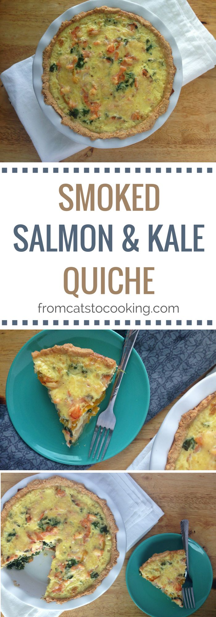 This smoked salmon and kale quiche recipe is a great way to mix up your weekend breakfast routine. It uses a gluten-free crust and can easily be made dairy free!
