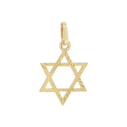 14k Yellow Gold, Small Size Star of David Jewish Religious Pendant Charm Sparkly Cuts (P011-018)