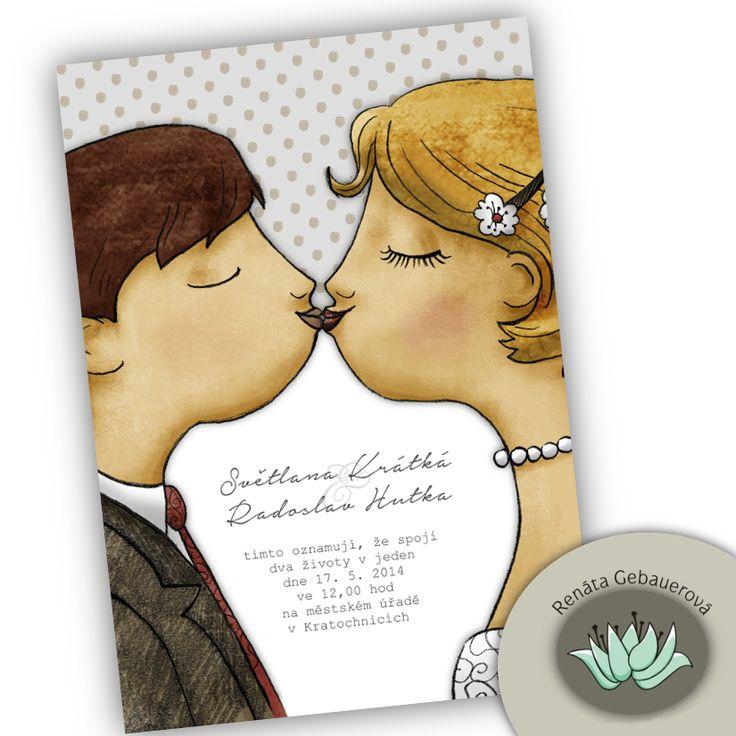 Svatební+oznámení+-+A+Kiss+Originální+svatební+oznámení+ve+formátu+kartičky+104+x+145mm+tištěné+z+jedné+strany+na+200g+matném+offsetovém+papíře.+Cena+za+1+kspři+minimálním+odběru+30ks.+Textové+a+barevné+úpravy+v+ceně.+Po+dohodě+lze+ve+stejném+designu+navrhnout+i+další+svatební+náležitosti+jako+jsou+jmenovky+na+stůl,+kartičky+s+poděkováním,+pozvánky+ke+stolu+...