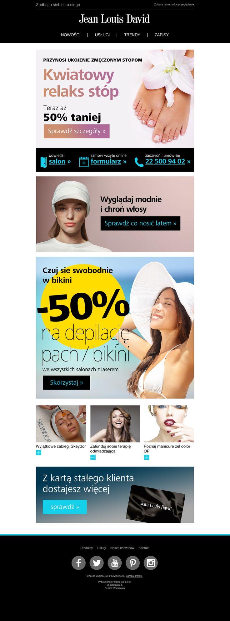 Letnie promocje i content na lato od Jean Louis David.  #newsletter #email #ecommerce #jeanlouisdavid #template