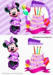 Its my Birthday  love my cake with cute minnie purple A5 on Craftsuprint - View Now!