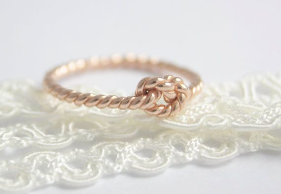 Sterling silver knot ring, love knot ring, statement ring, stacking ring, rose gold knot ring, rose gold ring, knuckle, jewelry, women gift on Etsy, $24.00