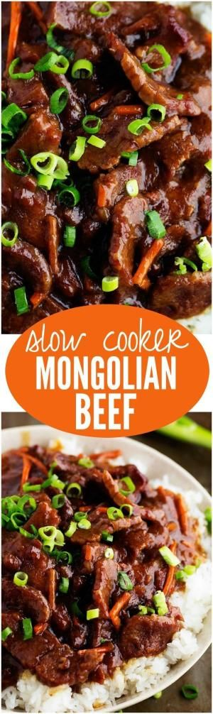 This Slow Cooker Mongolian Beef is melt in your mouth tender and has ...