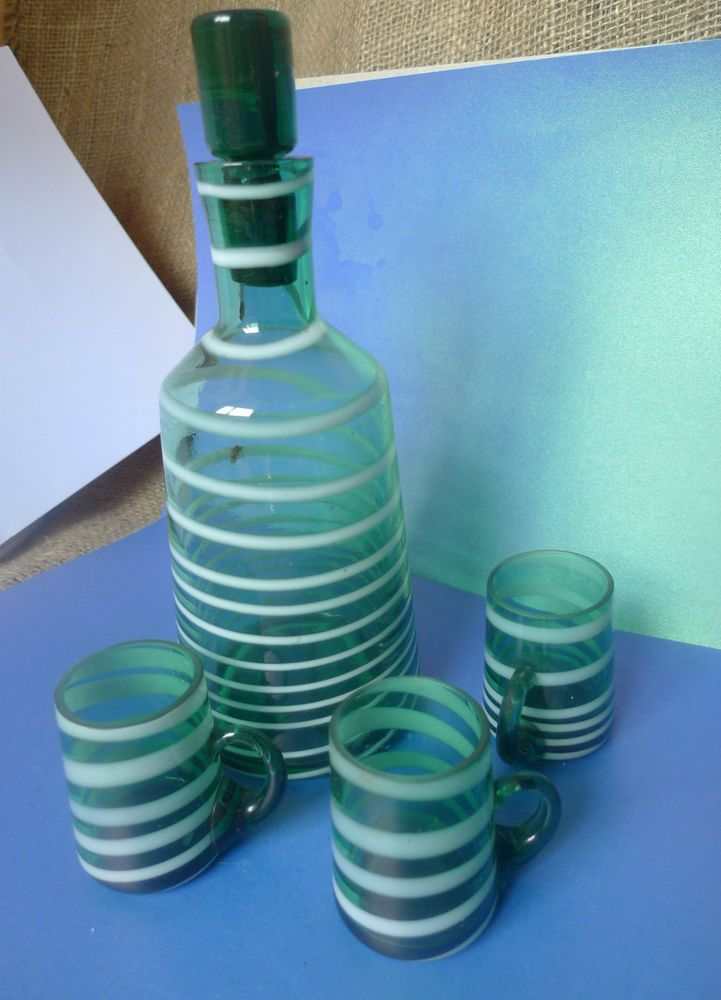 Vintage Retro Soviet USSR Glass Bottle 3x Glasses Nightcups Green White striped