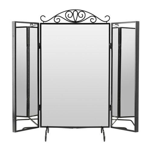 KARMSUND Stolné zrkadlo IKEA Bižutériu a šperky si prehľadne uložíte vďaka háčikom za jednou stranou zrkadla.