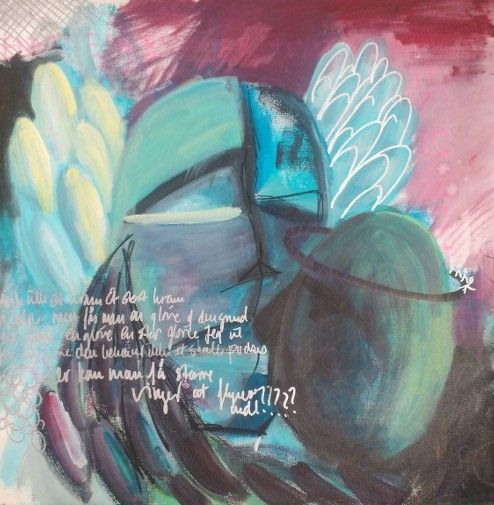 """""""Angle- now with wings"""" 60x60 acryllic and tusch"""