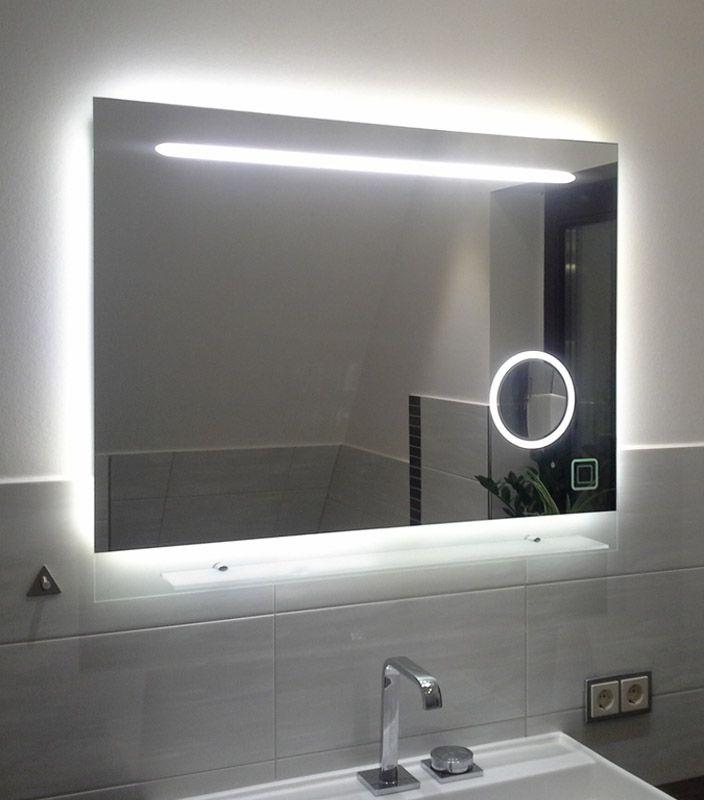 Beautiful Modell Badspiegel mit Kosmetikspiegel Sensortaster bet tigt Beleuchtung an