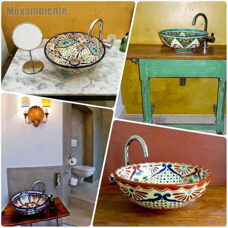 Bringen Sie mit den mexikanischen Aufsatzwaschbecken von Mexambiente jede Menge gute Laune in Ihr Bad! Durch die sorgfältige Bemalung der mexikanischen Künstler verwandelt sich jedes Aufsatzwaschbecken in ein echtes Kunstwerk. Erleben Sie die e ...
