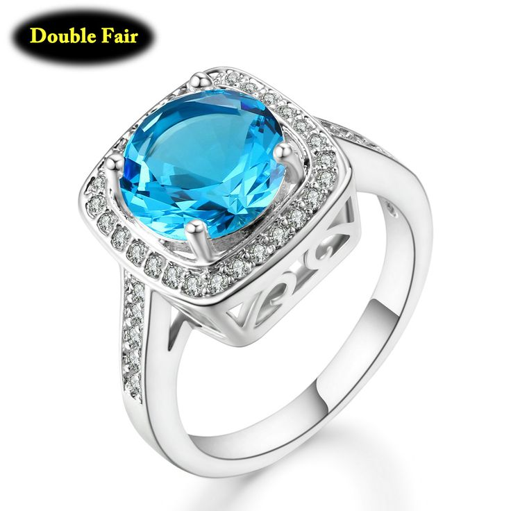 Encontrar Más Anillos Información acerca de Clásico Corte Cuadrado Color Plata Oval Azul Cubic Zirconia Anillo de Alianzas de Boda Para Las Mujeres Al Por Mayor Joyas de Cristal DWDD067, alta calidad wedding band, China wedding band ring Proveedores, barato band ring de ITALINA JEWELRY en Aliexpress.com