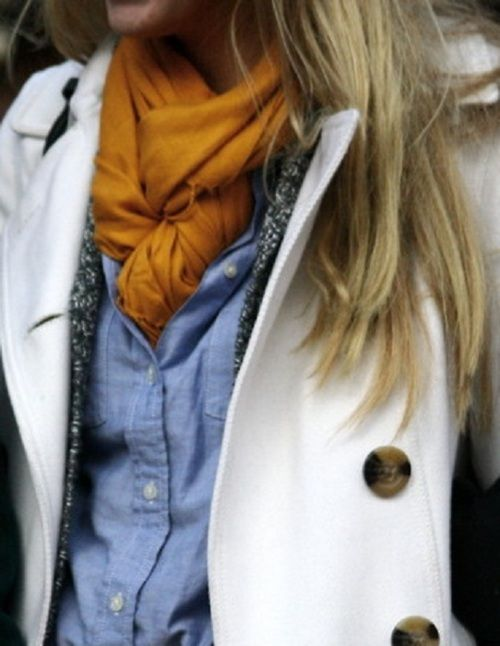 white trench, denim shirt, marigold scarf