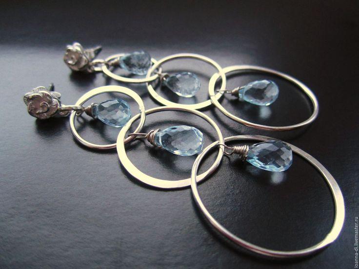 """Купить Серьги """"Зимние розы"""" серебро, топаз. - голубой, голубые серьги, серебряные украшения"""