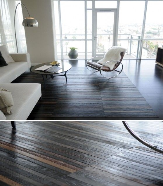 these recycled leather belt rugs are sexy hot!
