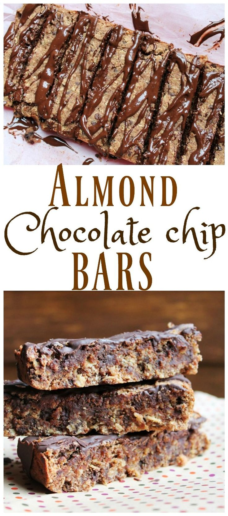 Wondering what to do with leftover almond pulp from making almond milk? DON'T THROW IT OUT...make these amazing chewy Almond Chocolate Chip Bars! So easy and fast and healthy and oil-free! Just 8 ingredients! via @thevegan8