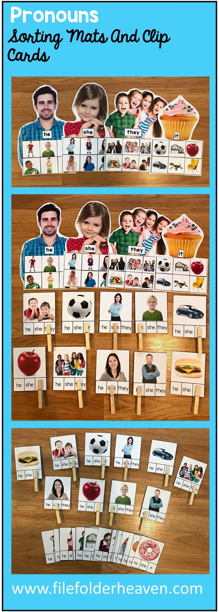 These Pronouns Sorting Mats w/ Real Photos include 4 unique sorting mats that focus on identifying the pronouns: he, she, they and it.  It also includes 40 task cards or clip cards, that students can practice with.  At an independent workstation, center or language group, students complete the following sorting mats or clip cards by identifying the pronoun to use with each photo.