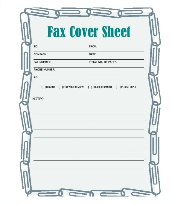 Free Fax Cover Sheet Template Printable Pdf Word Excel Google Docs