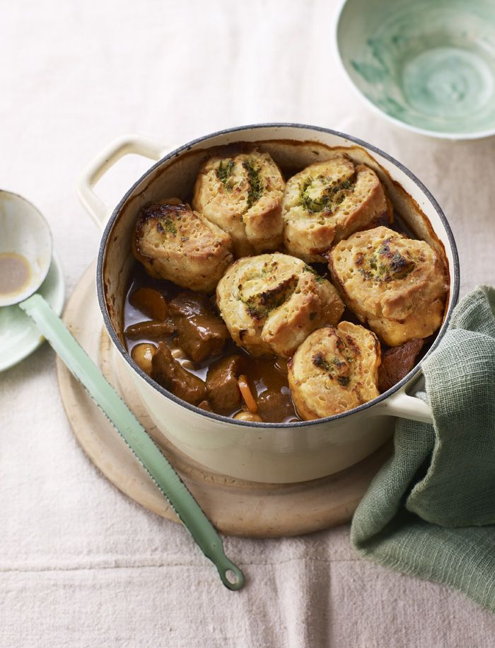 Beef and ale stew gets a reinvention with these horseradish roll-up dumplings.
