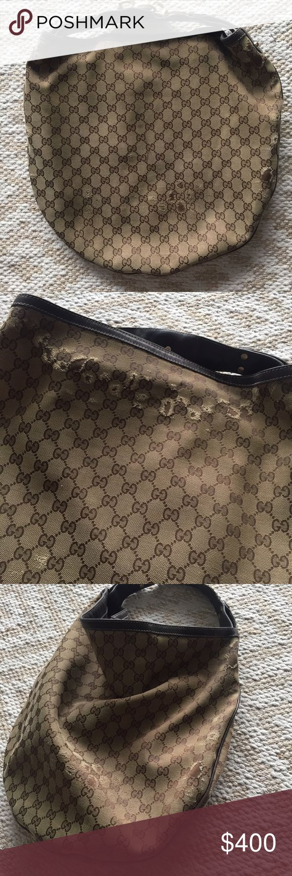 Gucci logo round hobo shoulder bag! Authentic Gucci logo round hobo bag! Used with some wear and tear, but leather is perfect and bag is clean! Gucci Bags Shoulder Bags