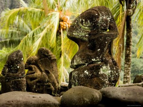 Tiki Carvings in Hatiheu Village, Nuku Hiva, French Polynesia Photographic Print by Tim Laman at Art.com