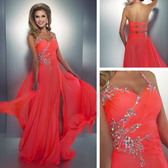 2014 New Arrival Evening Dresses Long Halter Crystal Beaded Watermelon Prom Party Dresses With Front Slit