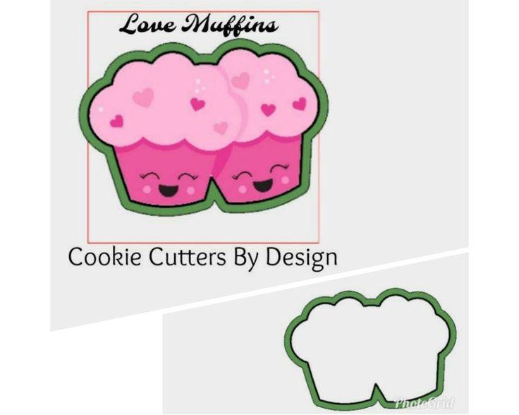 Valentine's Cookie Cutter / Love Muffin Cookie Cutter / Cupcake Cookie Cutter / 3D Printed Cookie Cutters / Cookie Cutters by CookieCuttersByDsgn on Etsy