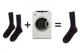 Two socks + one dryer...