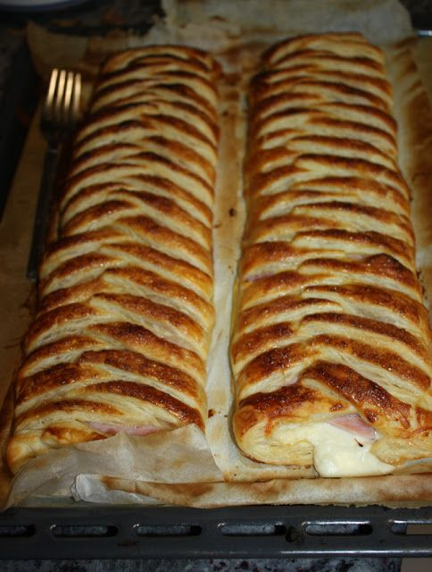 mis recetas dulces y saladas: trenzas de hojaldre de jamón y queso